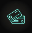 bank card icon in neon line style vector image