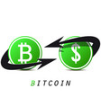 bitcoin and dollar on white background currency vector image vector image