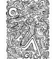 black and white creative psychedelic abstract vector image