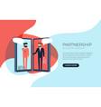 businessmen handshake on mobile vector image