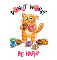 cartoon cat with donuts vector image vector image