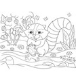 cartoon coloring book black and white nature vector image vector image