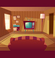 cartoon living room with sofa tv vector image
