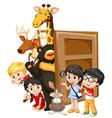 Children and wild animals behind the door vector image vector image