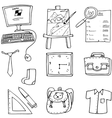 Computer bag ruler paper element doodles school vector image vector image
