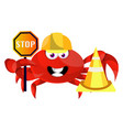 crab with stop sign on white background vector image