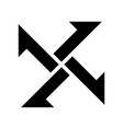 cross from arrows icon filled black icon vector image vector image