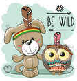 Cute cartoon dog and owl