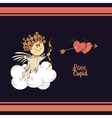 Cute cupid in the dark sky vector image