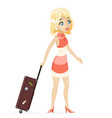 cute girl suitcase cartoon retro vintage female vector image vector image