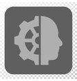 Cyborg Gear Rounded Square Button vector image