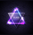 david star neon sign triangle with glass plate vector image vector image