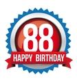 Eighty Eight years happy birthday badge ribbon vector image vector image