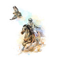 falcon hunting arabian man with a falcon and a vector image vector image