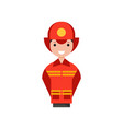 firefighter character man in costume of fireman vector image