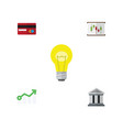 flat icon incoming set of bank growth diagram vector image vector image