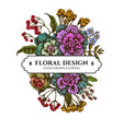 floral bouquet design with colored wax flower vector image