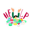 girl drowns in pills vector image
