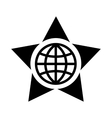 Globe in the center of the star icon simple style vector image