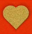 gold glitter heart on red background symbol of vector image vector image