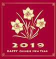 Happy new chinese year card with blossom narcissus