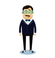 Hipster geek business man character vector image