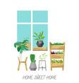 home plants in scandinavian flat vector image