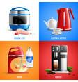 household appliances 2x2 design concept vector image vector image