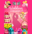 invitation on marriage ceremony bride and groom vector image