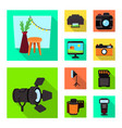 isolated object photoshoot and work symbol set vector image vector image