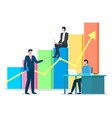 managers working appointment about data chart vector image