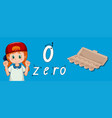 number zero tracing guide vector image
