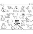 one a kind game with comic dogs color book page vector image vector image