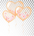 orange heart balloons transparent banner template vector image