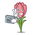 photographer crocus flower mascot cartoon vector image