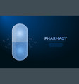 pill capsule made polygonal wireframe mesh low vector image