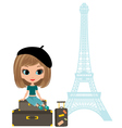 pretty girl in the paris vector image vector image