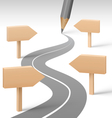 Road with Pencil and Wooden Signposts on Grayscale vector image vector image