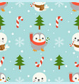 seal and penguin christmas seamless pattern theme vector image