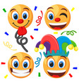 set emoticons on a white fool s day vector image vector image