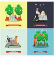 set of wedding posters in flat style vector image vector image