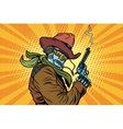 Steampunk robot cowboy with Smoking after firing a vector image vector image