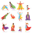superheroes in bright suits and long cloaks set vector image