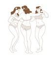 three graces three pretty curvy girls in vector image
