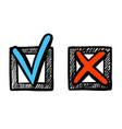 tick and cross check mark sketch button icon set vector image