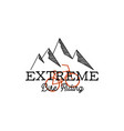 vintage hand drawn adventure logo with mountains vector image