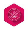 white stop marijuana or cannabis leaf icon vector image vector image