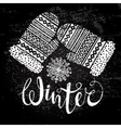 Winter text and knitted woolen mittens with vector image vector image