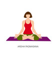 woman in ardha padmasana or yoga lotus pose vector image vector image