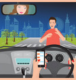 woman using smartphone while driving the car vector image